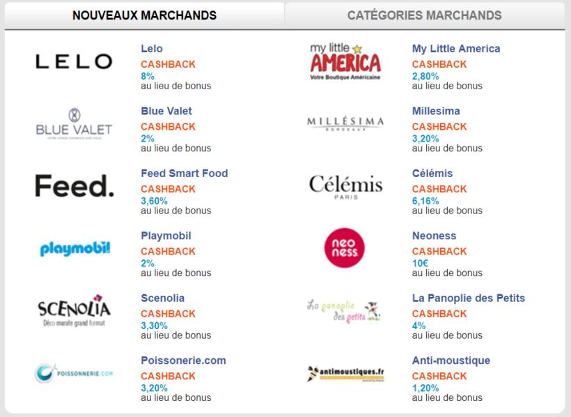 Liste de sites marchands proposant le cashback