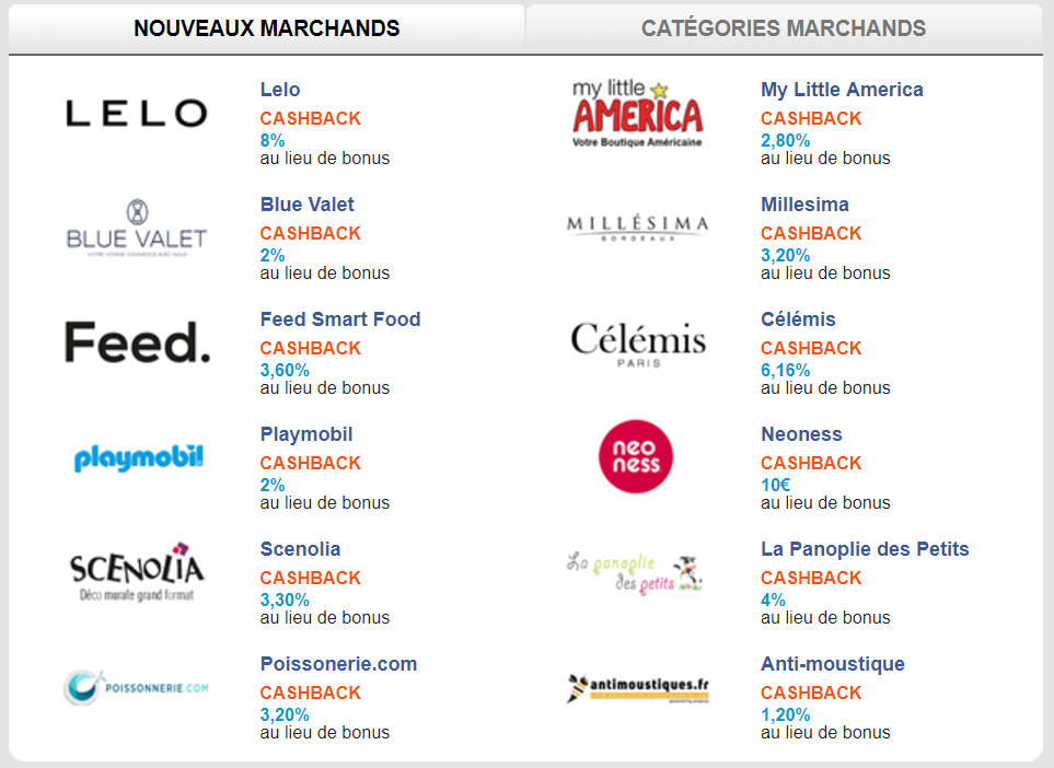 Liste de sites marchands proposant le cashback