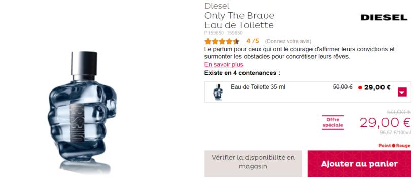 Le parfum de Diesel, Only The Brave est à 29 euros au lieu de 50 euros