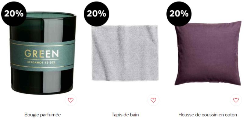 Les produits basique de H&M Home sont aussi en promotion