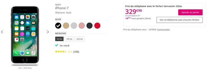 L'iPhone 7 est proposé à des prix différents suivant les opérateurs.