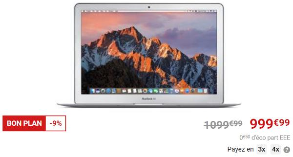 La FNAC fait bénéficier d'une réduction de 100 euros sur le MacBook Air 13,3 pouces LED