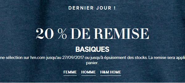 20% de remise sur le site d'H&M sur la collection basique femmes hommes et home
