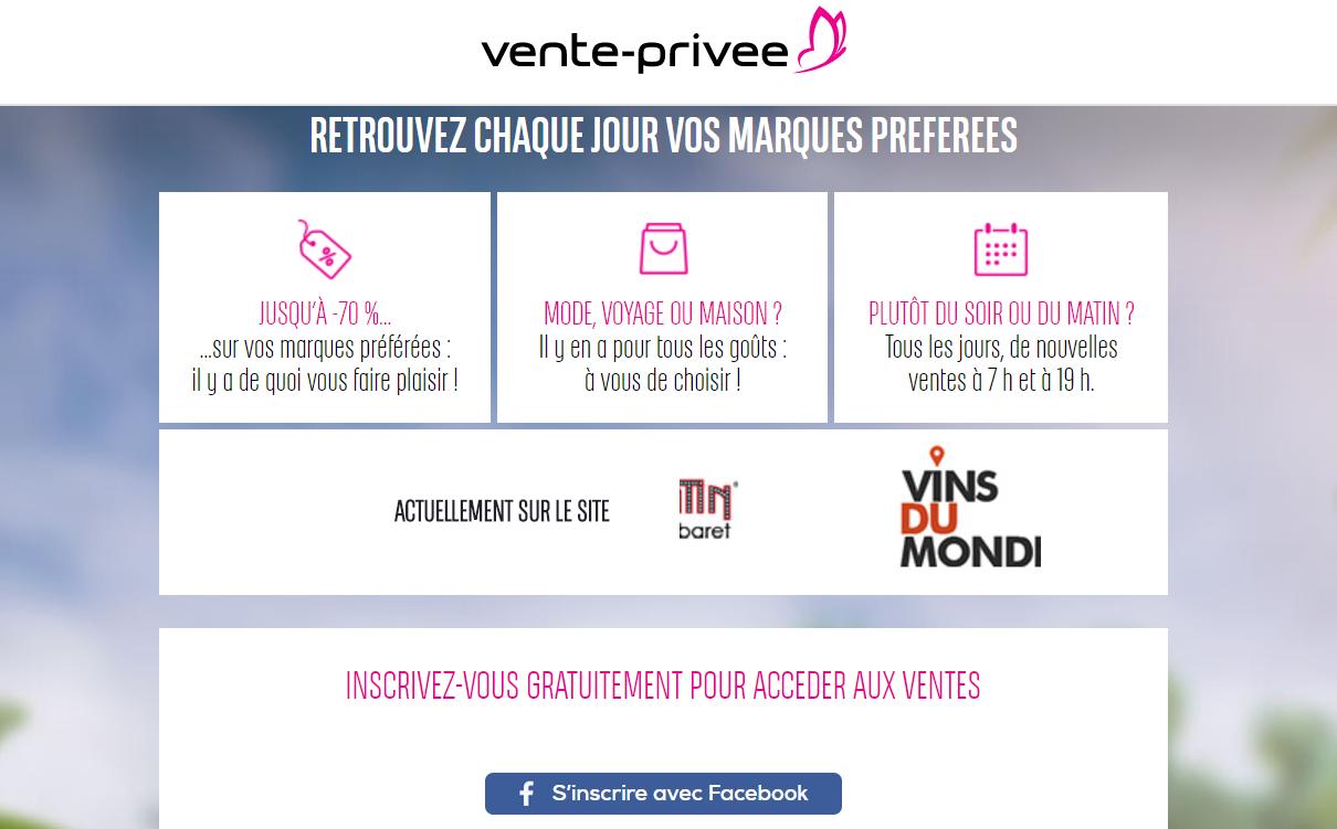 Inscription au site vente-privee.com