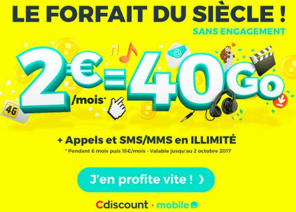 Cdiscount lance le forfait à 2 euros par mois