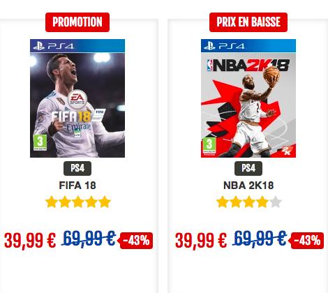 Promo sur les jeux vidéos PS4.