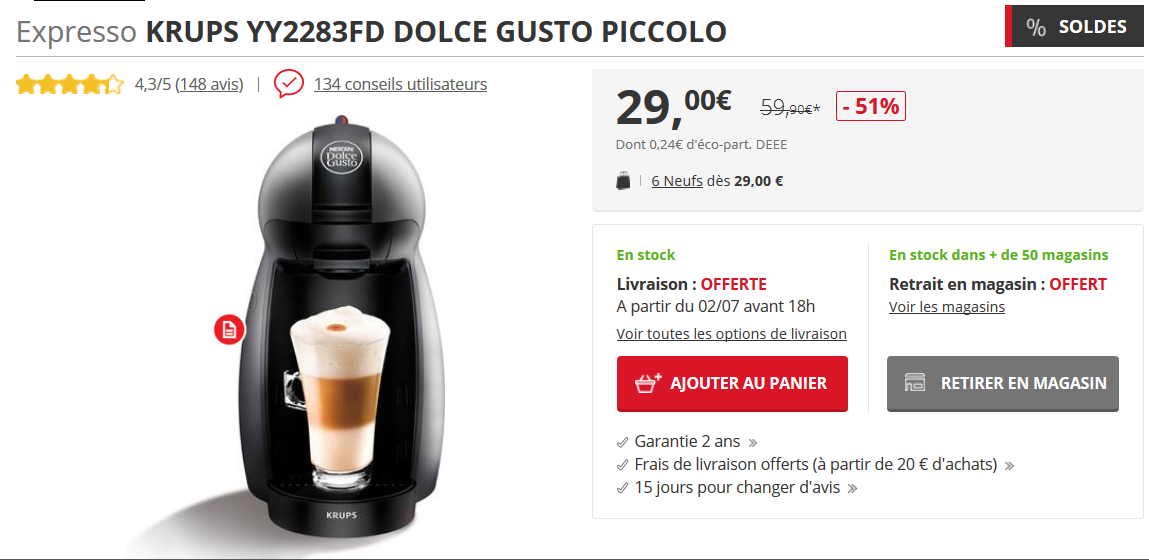 machine à expresso soldes bons plans Darty