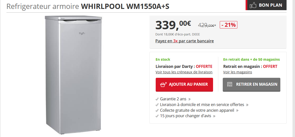 Soldes bons plans Darty frigo Whirlpool