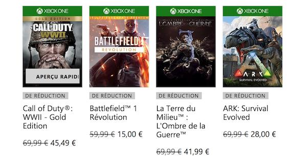 Jeux Xbox One réduction sur le site Xbox.
